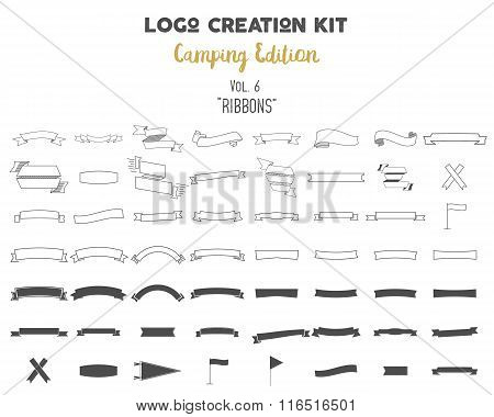 Logo creation kit bundle. Camping Edition set. Ribbons vector shapes and elements Create your own ou