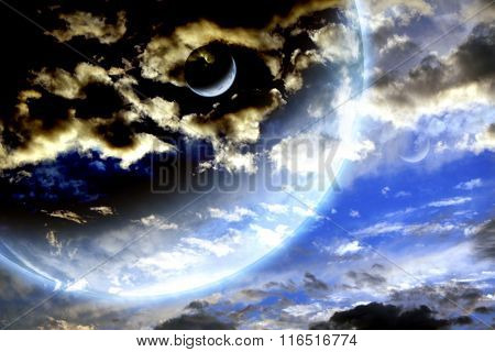 Storm sky and alien planets. Elements of this image furnished by NASA