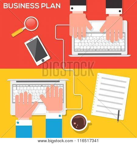 Illustration of Business people working on digital device, sharing and discussing their ideas about Business Plan.