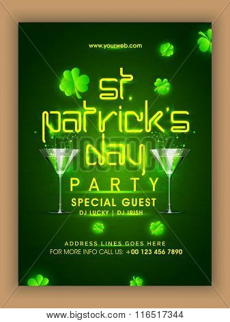 Creative Pamphlet, Banner or Flyer design with shiny text St. Patrick's Day on shamrock leaves decorated green background.