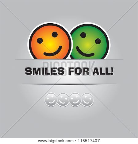 Smiles For All. Funny Greeting Card In Vector Format
