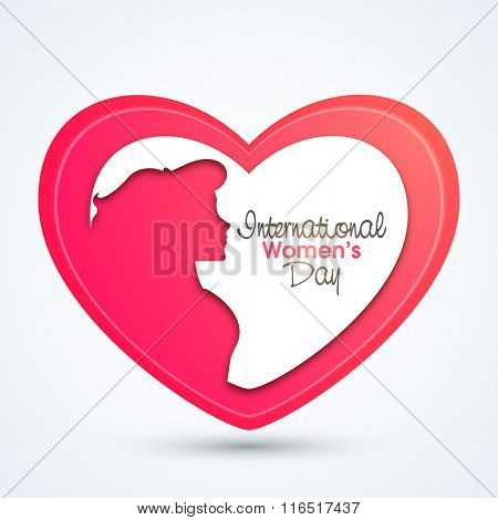 Creative pink heart with illustration of a young girl for International Women's Day celebration.