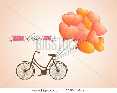 Glossy heart shaped balloons tied on a bicycle for Happy Valentine's Day celebration.