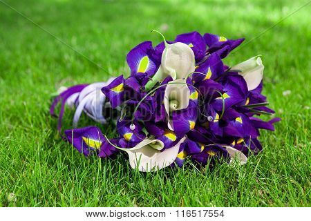 Bouquet Of Flowers In The Grass