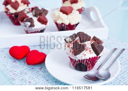 Several Cupcakes For Saint Valentines Day
