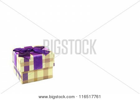 Checkered Gift Box With Dotted Pattern Isolated On White Background