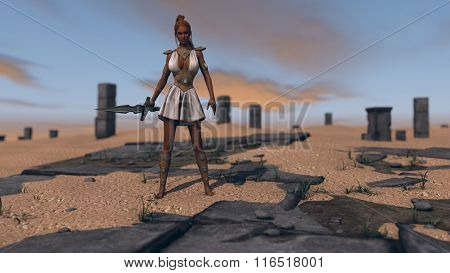 gladiator woman with sword among ruins