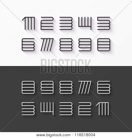 Thin line style, linear modern font numbers with shadow effect vector design element