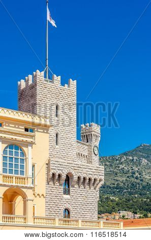 Fragment of the Princes Palace of Monaco in Monaco-Ville, Monaco