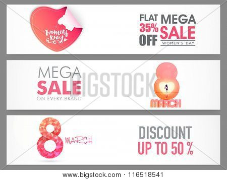 Creative website header or banner set of Sale with flat discount offer for Happy Women's Day celebration.