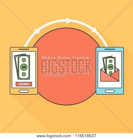 Sending and receiving money, wireless with smartphones for Mobile Money Transfer concept.