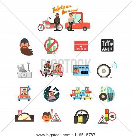 Motorcycle and Car Safety Drive Rules. Vector Illustration Set