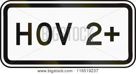 United States Mutcd Regulatory Road Sign - Hov 2+