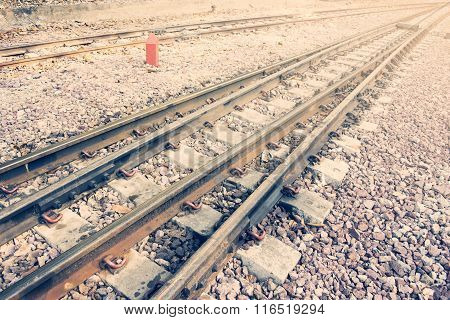 Railway Or Railroad Tracks For Train Transportation (vintage Style)
