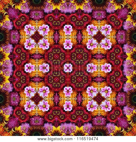 Seamless Flower pattern with effect of a kaleidoscope.