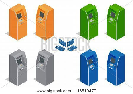 ATM machines. Payment using credit card. Banking finance money. Isometric vector illustration for in