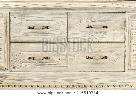 Part Of An Old Wwhite Wooden Cupboard
