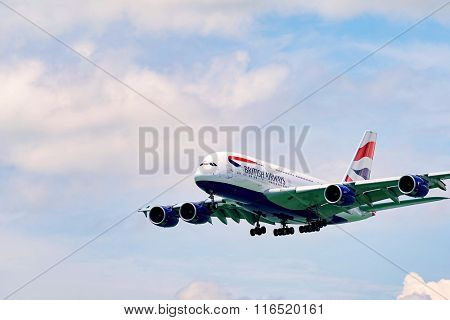 HONG KONG - JUNE 04, 2015: British Airways A380 landing. British Airways is the flag carrier airline of the United Kingdom and the largest airline in the United Kingdom based on fleet size
