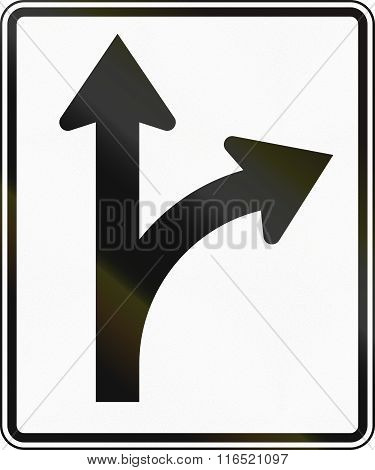 United States Mutcd Regulatory Road Sign - Straight Or Right
