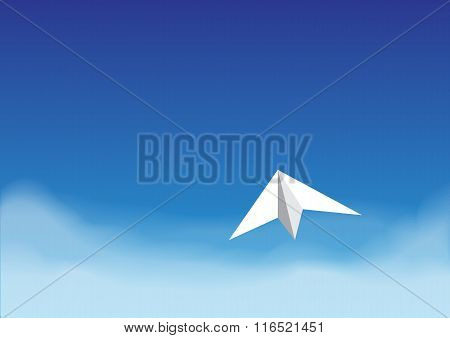 Paper Plane On The Bright Blue Sky Over The Cloud