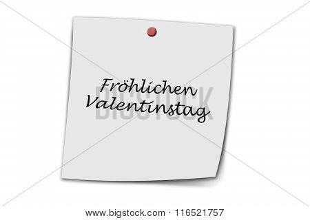 Fröhlicher Valentinstag Written On A Memo