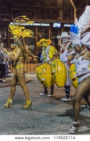 Women Dancers And Candombe Drummers At Carnival Parade Of Uruguay