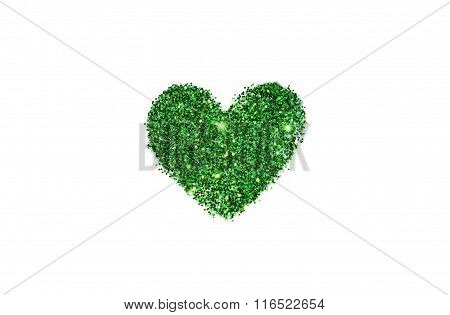 Abstract heart of green glitter sparkle on white background