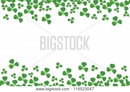 St Patricks Day double border of shamrocks over white
