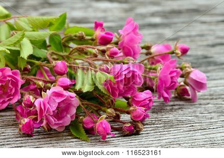Bunch Of Pink Roses On A Wooden Background