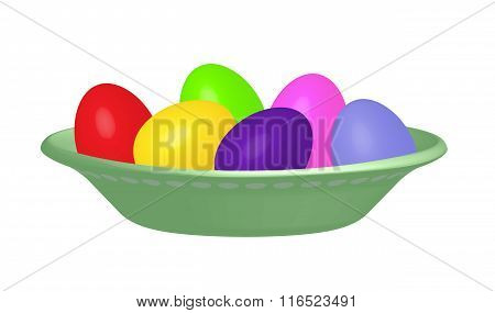 Dyed Easter eggs in a pea green bowl