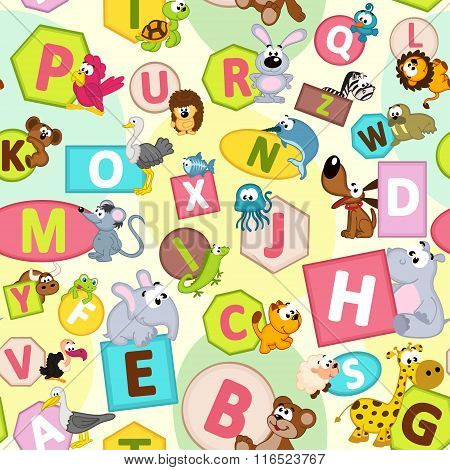 seamless pattern with geometric shapes and animals alphabet