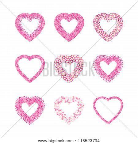 Heart Shape Frame Set Made Of Pink Hearts, Flowers And Petals. V