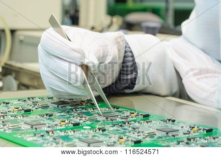 Quality Control And Assembly Smt Printed Components On Circuit Board