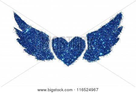 Abstract heart with wings of blue glitter sparkle on white background
