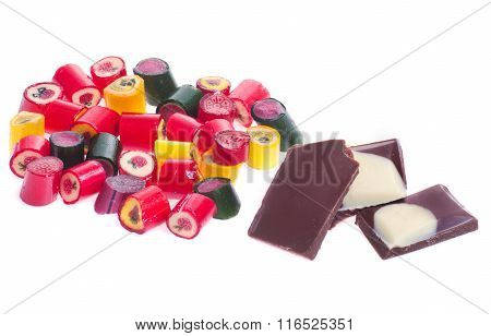 Mount Caramel Colored Candies And Chocolate Pieces Isolated White