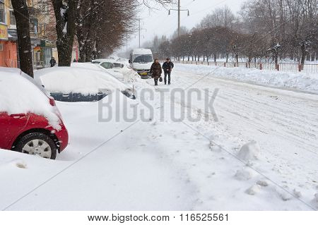 Kirova avenue of the Dnepropetrovsk city after a snow storm
