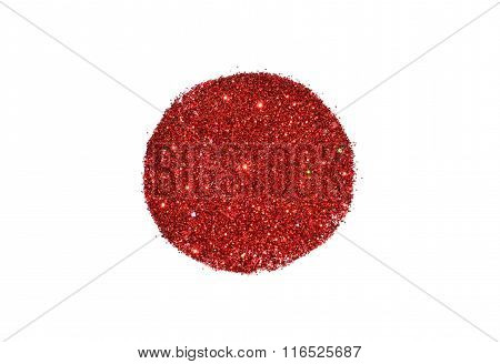 Abstract round of red glitter sparkle on white background for your design