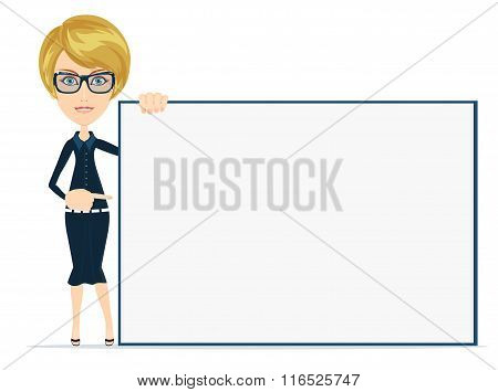 Cartoon  businesswoman holding large poster