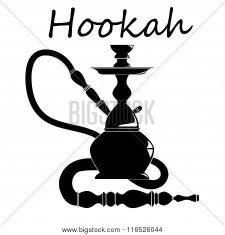 Shisha, hookah black silhouette.