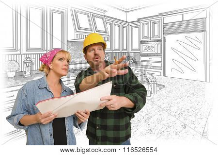 Contractor Talking with Customer Over Custom Kitchen Drawing.