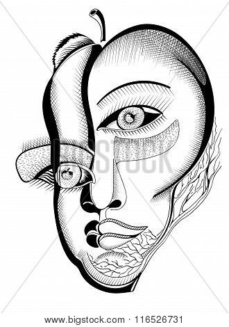 Surreal hand drawing faces, abstract template with black outlines, can use for posters cards, sticke
