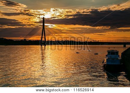 Beautiful Sunset Over The River Daugava