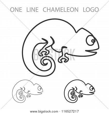 Chameleon. One Line Logo. Minimalism Style Logotype. Vector