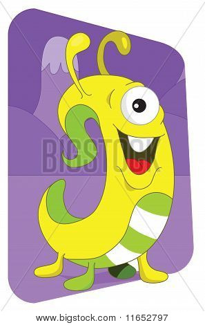 Yellow Wormlike Alien Monster On A Purple Mountain Background