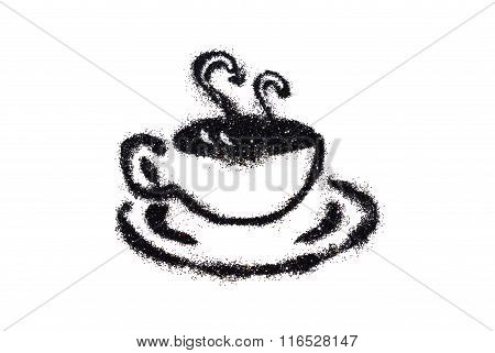 Cup of coffee of black glitter sparkle on white background