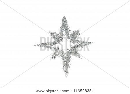 Abstract star of silver glitter sparkle on white background