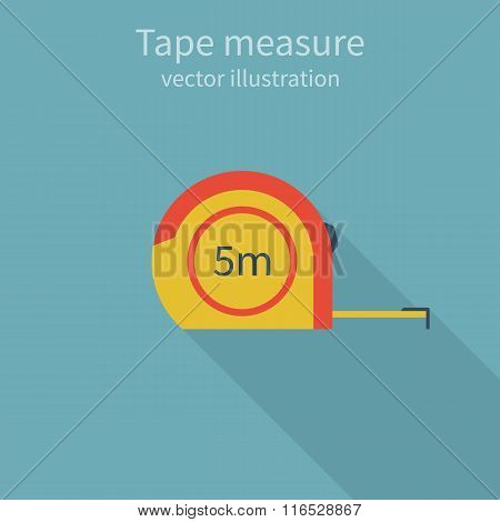 Tape Measure, Icon, Isolated, Centimeter. Colorful, Style Flat Design