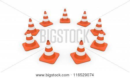 Traffic cones circle