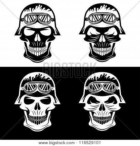 Skull In Helmet Set, Biker Theme Vector Design Template