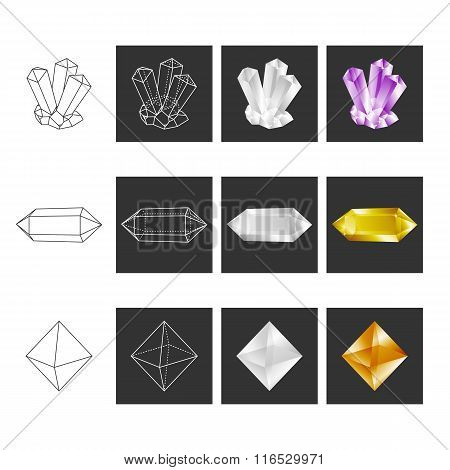 Crystal Geometry Shape Set. Colored Crystals In Polygon Geometri